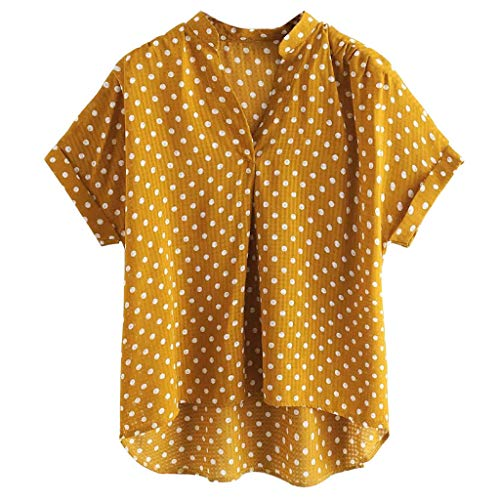 lotus.flower Fashion Women V-Neck Short Sleeve Polka Dot Print Casual Top Blouse T-shirt (2XL, Yellow)