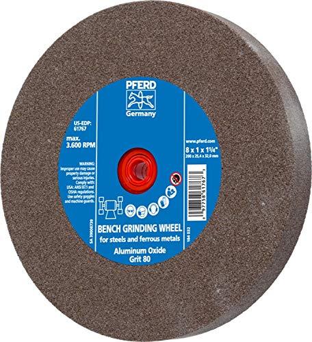 PFERD 61767 Bench Grinding Wheel, Aluminum Oxide, 8'' Diameter, 1'' Thick, 1-1/4'' Arbor Hole, 80 Grit, 3600 Maximum RPM by Pferd