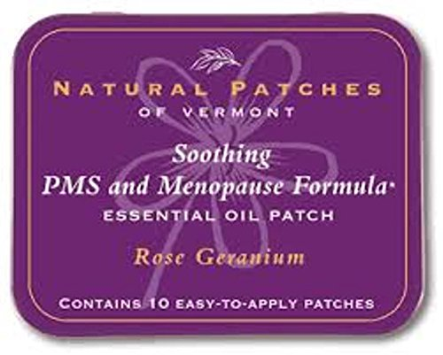 Natural Patches of Vermont Essential Oil Patches Rose Geranium, Menopause & PMS Discomfort 10 count tins