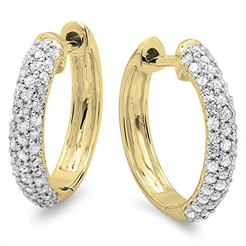 0.50 Carat (ctw) 14K Yellow Gold Round Diamond Ladies Pave Set Huggies Hoop Earrings 1/2 CT (Pave Diamond Jewelry Set)
