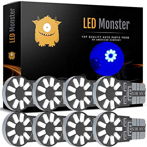 (LED Monster 8-Pack Blue 18-SMD LED Light Bulb for License Plate Interior Map Dome Side Marker Light 194 168 2825 175 192 W5W T10 Wedge Super Bright High Power 3017)