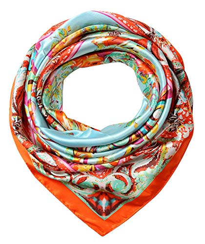 (Large Square Satin Silk Like Lightweight Scarfs Hair Sleeping Wraps for Women Safety Orange Flowers)