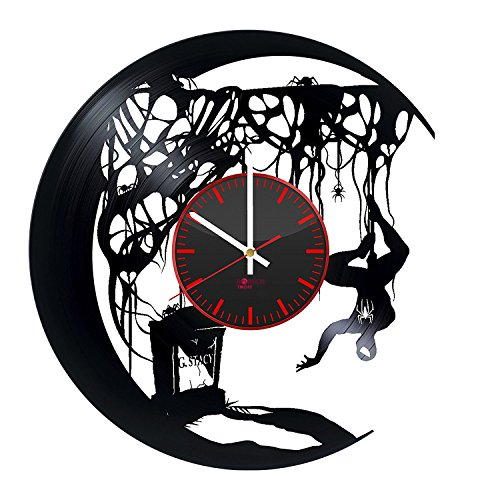 Amazing Spider Man Costume Change (Superhero Silhouette Design Vinyl Record Wall Clock - Get unique living room or bedroom wall decor - Gift ideas for boys and men – Comics Character Unique Art)