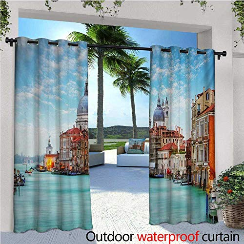 /Outdoor Single Panel Print Window Curtain Grand Canal and Basilica Santa Maria Della Salute Historical Architecture Silver Grommet Top Drape W120 x L108 Blue Turquoise Orange ()
