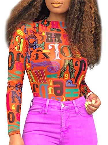 (Women's Mesh Tops Long Sleeve Sheer Blouse Floral Printing Sexy Shirt High Neck Clubwear Orange XL )