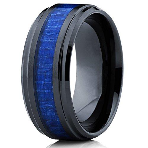 9MM Bague de mariage en ceramique noir avec fibre de carbone bleu. Pour Homme Intérieur Confort