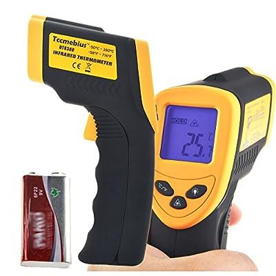 Tccmebius TCC-8380 Non-contact Digital Laser Ir Infrared Thermometer Temperature Gun, Yellow and Black