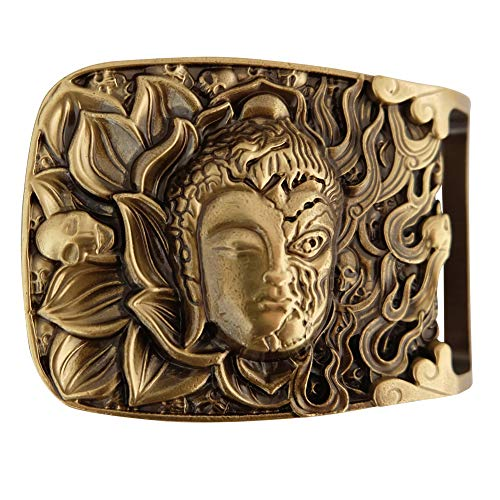 Copper Belt Buckle for Men, Half Good and Half Fierce Patterns, Using The Patterns of Buddhist Bodhisattvas and Demons, Suitable for Belts Up To 1.55in In Width