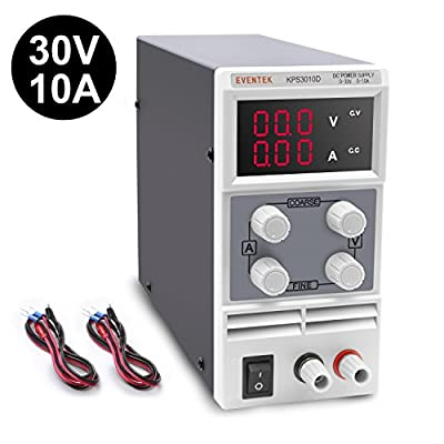 DC Power Supply Variable,0-30 V / 0-10 A Eventek KPS3010D Adjustable Switching Regulated Power Supply Digital,with Alligator Leads US Power Cord Used For Spectrophotometer and lab Equipment Repair
