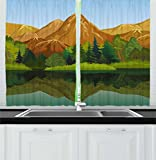 Lunarable Landscape Kitchen Curtains, Cartoon Style Mountains and Forest Scenic Summer Season Tranquility, Window Drapes 2 Panel Set for Kitchen Cafe, 55 W X 39 L Inches, Amber Green Pale Blue Review