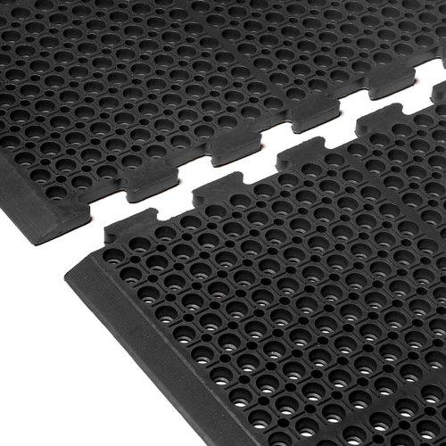 Black Cactus Mat 4420-CEWB Rubber VIP Duralok Heavy Duty Interlocking Matting 38 x 61 End with Bevel