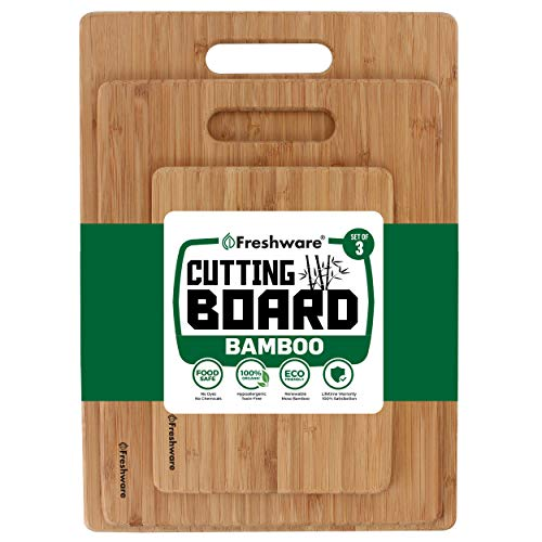 Freshware Bamboo Cutting Board - Wood Chopping Boards for Food Prep, Meat, Vegetables, Fruits, Crackers & Cheese, Set of 3 -