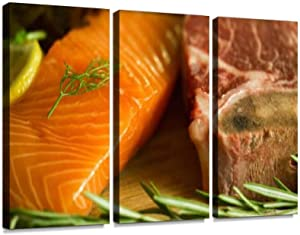 BELISIIS raw Salmon t Bone Beef Steak and herb Gourmet Food Cooking Seafood Wall Artwork Exclusive Photography Vintage Paintings Print on Canvas Home Decor Wall Art 3 Panels Framed Ready to Hang