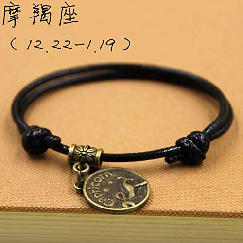 Couple Fashion Model one Pair Retro Jewelry Foot Chain Anklet Ankle Bracelet Man Boutique Tied Gift Boys 2018 Bell ([25 Black Rope ¡¤ Capricorn