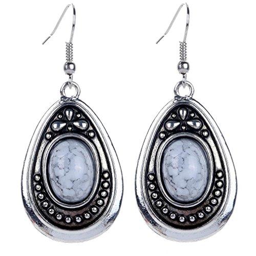 Yazilind Vintage White Oval Stone Dangle Drop Hook Alloy Earrings Women Gift