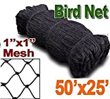 Baikalo 25' X 50' or 50' X 50' Net Netting for Bird Poultry Aviary Game Pens New 1'' Square Mesh Size (25' X 50')