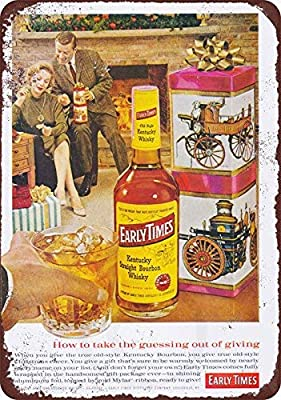 HarrodxBOX 1961 Early Times Kentucky Bourbon Reproduction Decorative Metal Signs for Women Wall Post Tin Sign Present 8 x 12