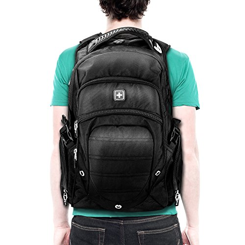 Suissewin big business travel outdoor mountain climbing computer backpack(SW9275I) (Black) by Swisswin (Image #7)