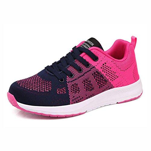 Las Zapatillas de Deporte de Las Mujeres, Zapatos Casuales al Aire Libre, Zapatos de Verano de Las Nuevas Mujeres Huecas, Zapatos Ligeros de los Estudiantes (Color : Re, Tamaño : 40) Do