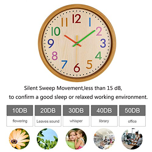 AIOLOC Kids Eco-friendlly Imitate Wood Wall Clock 12.5 Inch Silent Colorful Decorative Battery Operated Clocks Easy To Read for Children's Room by Ticktar (Image #5)