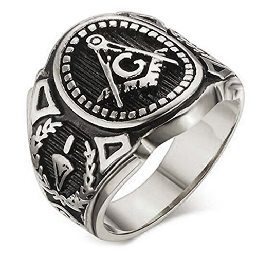 (Silver Color Freemason Ring - stainless steel with classic center design, pin stripes, etched tool symbols (Masonic Rings for Sale) Sizes 7-13 (Size 09))