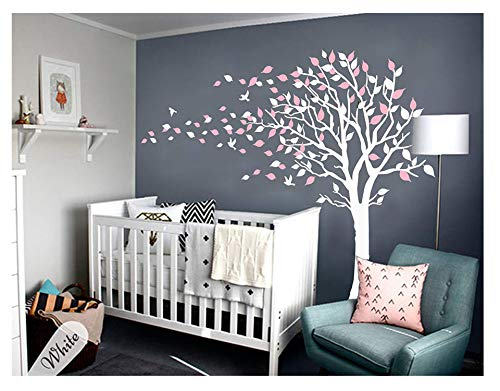 (LUCKKYY Tree Blowing in The Wind Tree Wall Decals Wall Sticker Vinyl Art Kids Rooms Teen Girls Boys Wallpaper Murals Sticker Wall Stickers Nursery Decor Nursery Decals (Pink+White))