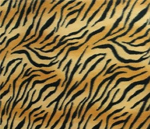 Tiger Print Two Tone Wave Fleece Fabric - 2 Yards -