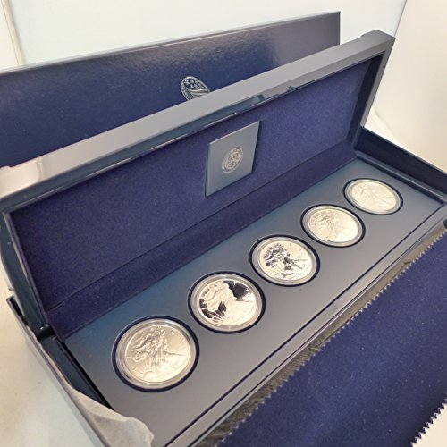 (2011 Mixed American Eagle 25th Anniversary Silver Coin Set 5 Coins, Unc, Proof, Reverse Proof, Bullion, Unc. Mint State)