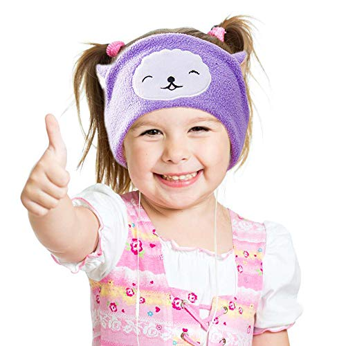 Kids Headphones, Volume Limiting with Ultra Thin Adjustable Speakers Soft Children Fleece Headband Sheep Toddler Headphones for Home and Travel - Llama