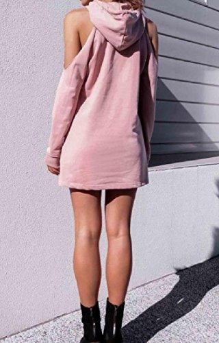 Women's Sweatshirts Shoulder Hooded Pink Cold Comfy Sleeve Dress Autumn Long 1qxHAgd7