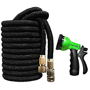 best flexible garden hose. TheFitLife Expandable Garden Hose With Strongest Triple Core Latex \u0026 Solid Metal Fittings 8 Pattern Spray Best Flexible