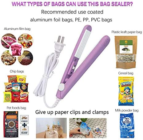 Mini Food Bag Heat Sealer, Portable Handheld Sealing Machine, Corrugated Heating Ceramic Sheet Chip Bag Sealer for Household Snack Bag Storage Sealing with 43.3 inch Power Cable(Purple)