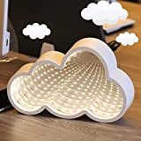 LED Cloud Shaped Neon Night Light,Wall And Table Decor Light,Mirror Light Battery Operated For Bedroom,Library,Study,Room,Home Decoration.