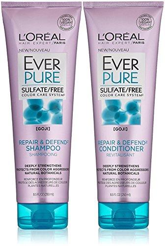 L'Oreal Paris EverPure Sulfate Free Repair and Defend Bundle, Shampoo & Conditioner, 8.5 OunceEach