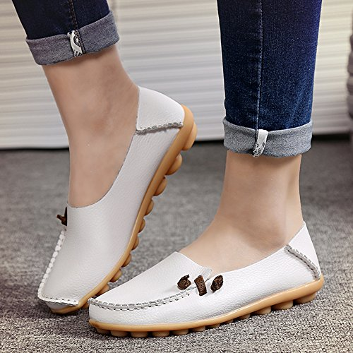 fereshte Womens Fashion Genuine Leather Loafers Casual Slip-on Soft-soled Flat Shoes for Driving Shopping White H4tJL1wA