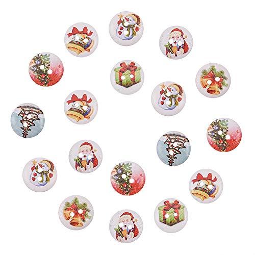 Holiday Flat - NBEADS 500 Pcs Holiday Buttons, 2-Hole Dyed Flat Round Printed Wooden Sewing Buttons for Christmas, Mixed Color, 15x4mm, Hole: 1.5mm