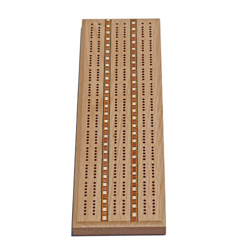 WE Games Classic Cribbage Set - Solid Oak Wood with Inlay Sprint 3 Track Board with Metal Pegs by WE Games