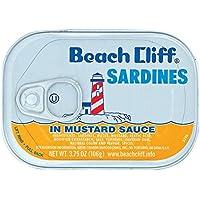 BEACH CLIFF Sardines In Mustard Sauce, Wild Caught, High Protein Food, Keto Food and Snacks, Gluten Free Food, High…