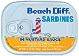 BEACH CLIFF Sardines In Mustard Sauce, Wild Caught, High Protein Food, Keto Food and Snacks, Gluten Free Food, High Protein Snacks, Canned Food, Bulk Sardines, 3.75 Ounce Cans (Pack of 18)