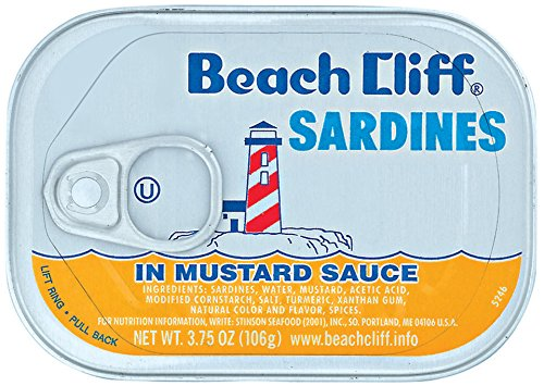 BEACH CLIFF Sardines In Mustard Sauce, Wild Caught, High Protein Food, Keto Food and Snacks, Gluten Free Food, High Protein Snacks, Canned Food, Bulk Sardines, 3.75 Ounce Cans (Pack of 18) (Best Mustard Sauce Brand)