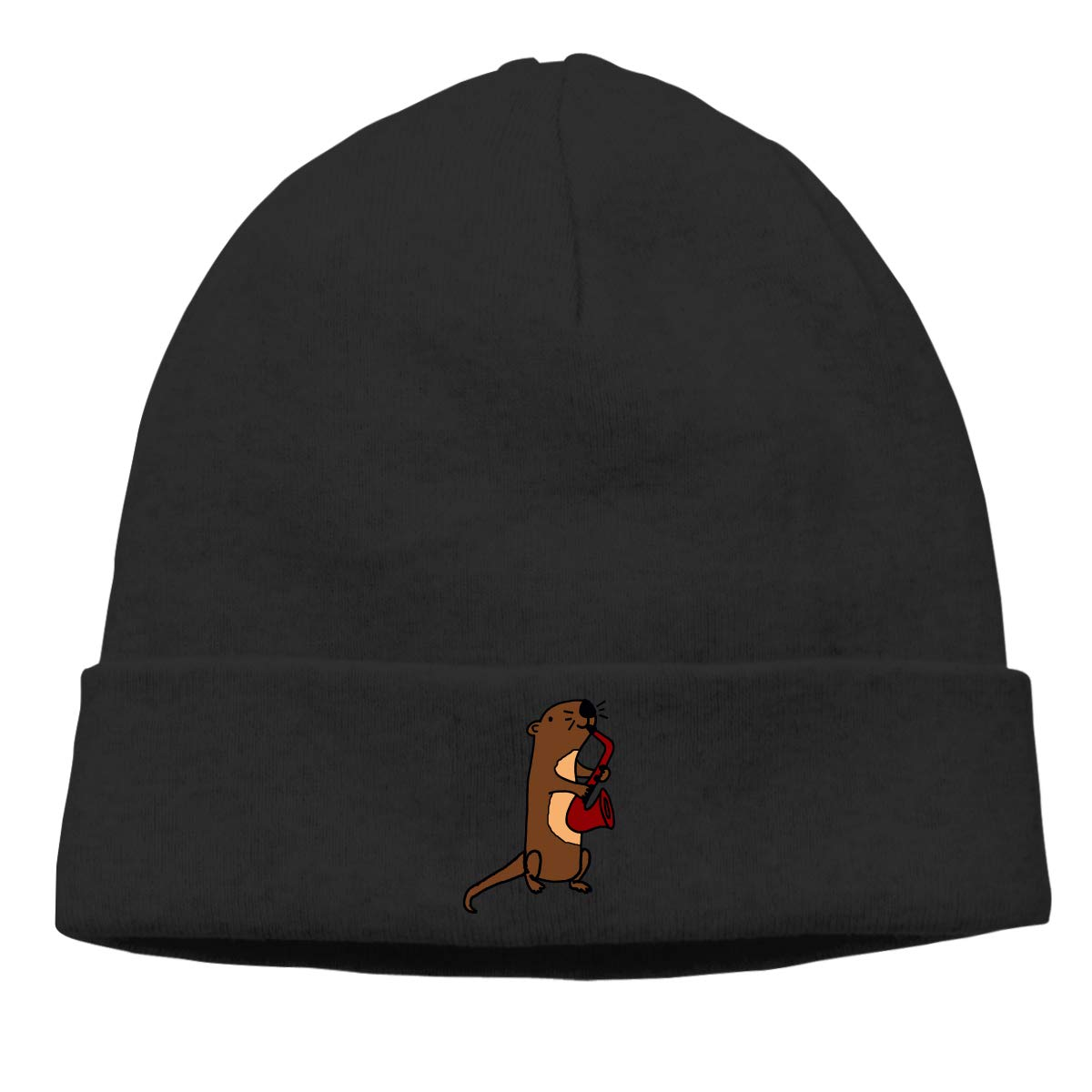 CgyOIUY-lop Beanie Hat Warm Hats Skull Cap Knitted Hat Otter Playing Saxophone