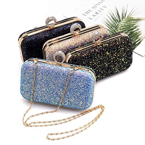 Wedding Women's Black Cocktail Shoulder Glitter Sequins Bag Purse CUTEQ Evening Party 7xq0vw