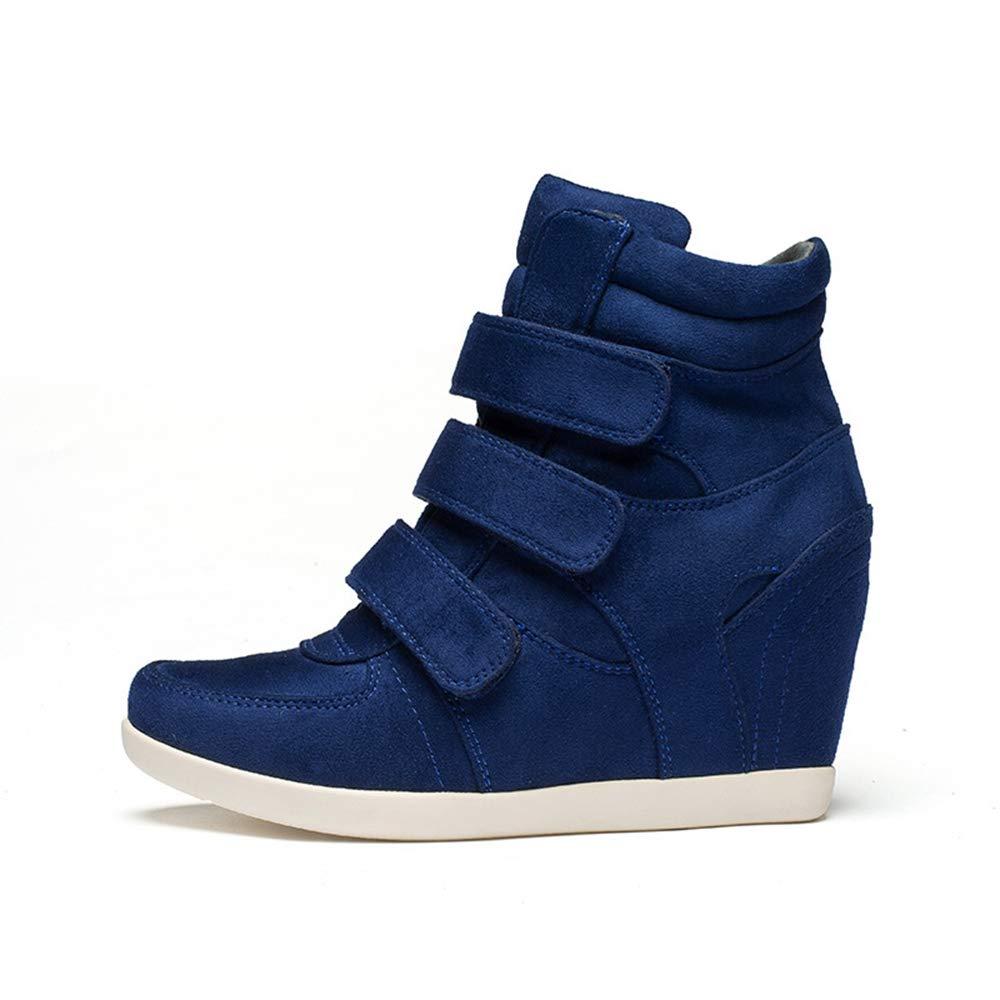LIANGXIE Cuñas de Mujer High Heels Velcro Invisible Inner Heels Moda de Mujer Casual Cuñas al Aire Libre Botines (Color : Azul, tamaño : 34): Amazon.es: ...