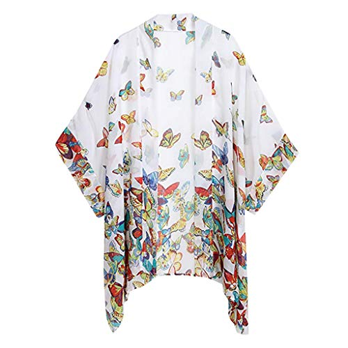 Women Fashion Casual Half Sleeve V-Neck Butterfly Print Tops T-Shirt Blouse