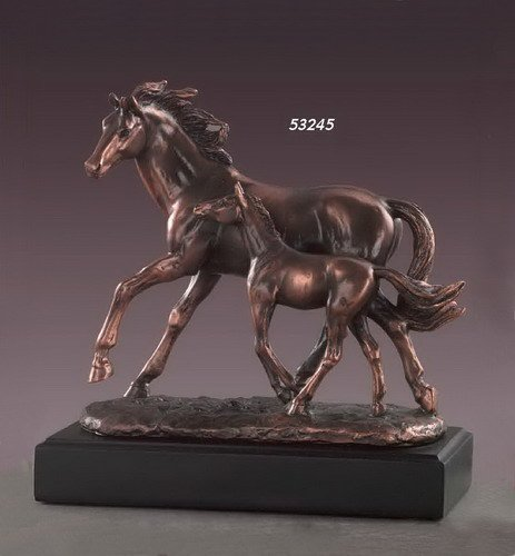 Bronze Electroplated Resin Mare with Foal Sculpture - Statue (Gold Bronze Unique Plating)