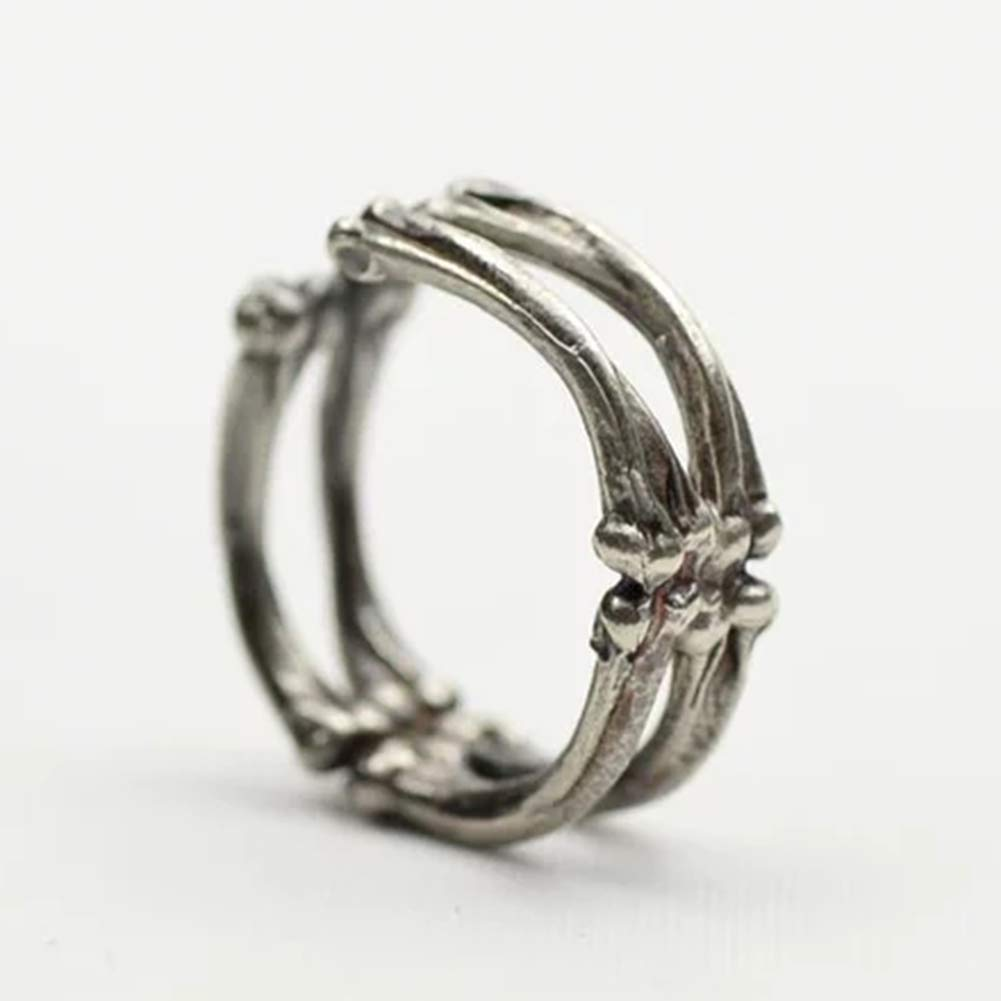 WillowswayW Halloween Unisex Vintage Gothic Finger Ring Adjustable Skeleton Bone Jewelry