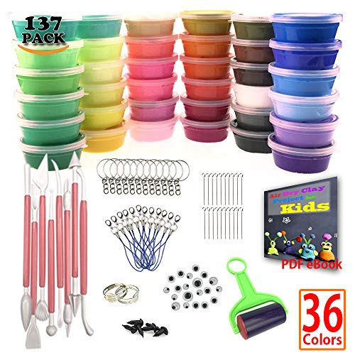 Sthabt - 36 Colors Air Dry Clay for Kids Ultra Light DIY Doll Making Craft Dough Kit with Modeling Tools Keychain Cellphone Strap Fun Gift (137pcs)