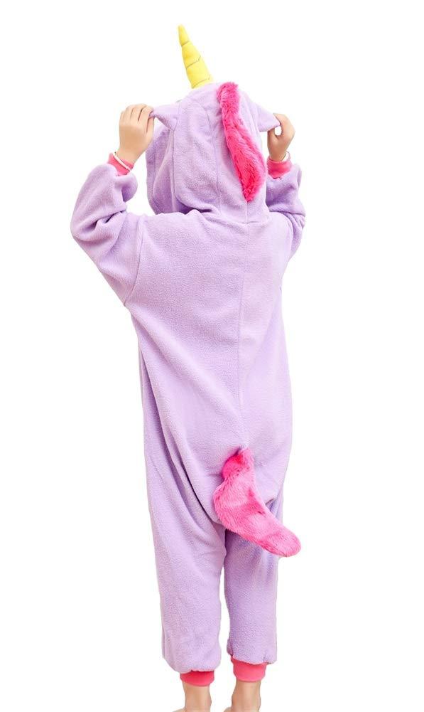 Kids Unisex Animal Pajamas One Piece Anime Onesie Unicorn Costumes Homewear Purple 2-4 by Mybei (Image #3)