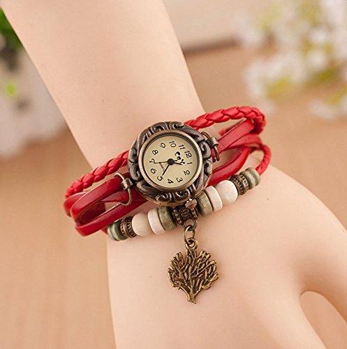 Hosaire Watch Bracelet Vintage Multilayer Weave Wrap Around Leather Chain Bracelet Quartz Wrist Watch with Tree Pendant for Women Men White by Hosaire (Image #4)