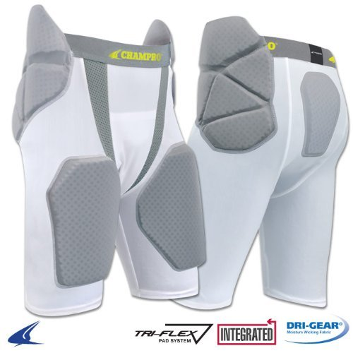 Champro Dri Gear Football - Champro Tri-Flex Football Girdle - 5 Pads, Youth Large